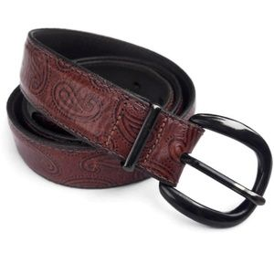 Just Jamie Italian Calfskin Leather Belt Paisley